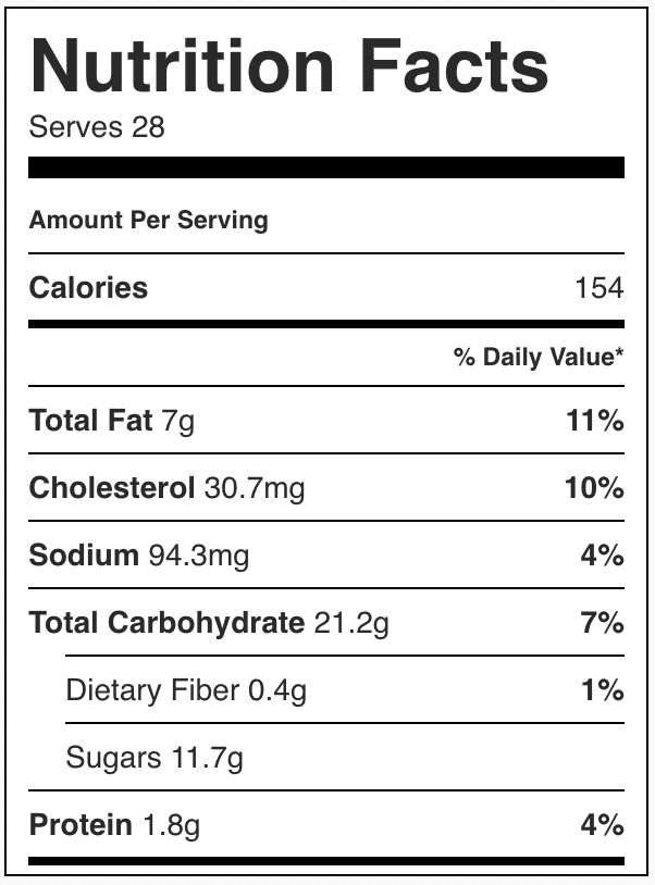 Nutrition facts in snickerdoodle cookies