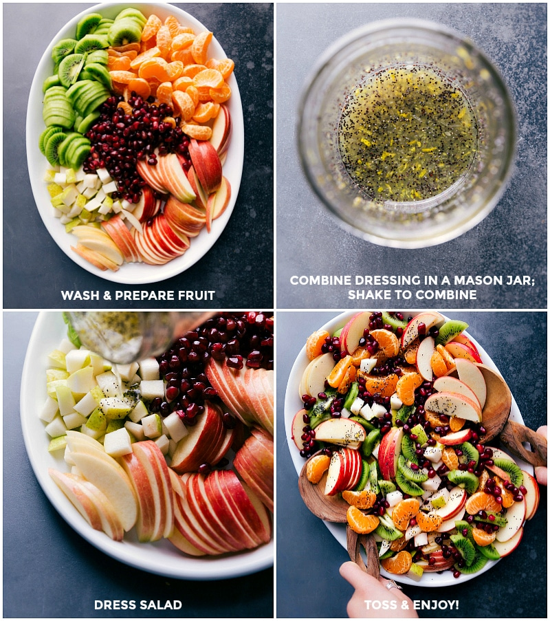 Images of all the fruit going on the platter; the dressing being combined in a Mason jar and poured over the salad; all ingredients being tossed together.