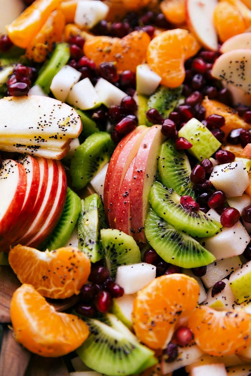 Up-close overhead image of Winter Fruit Salad.