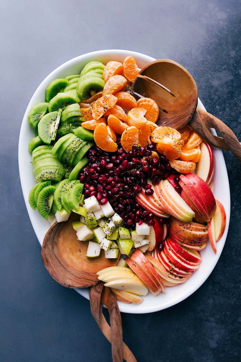 Overhead image of Winter Fruit Salad, compartmentalized, showing all the components.