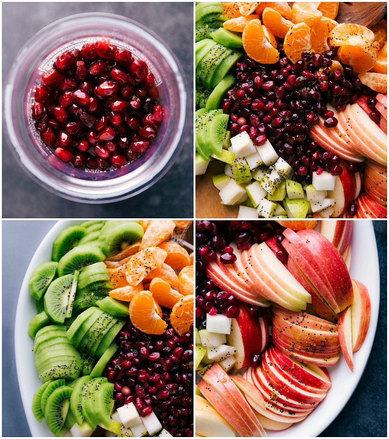 Process shots-- images of the pomegranates, kiwis, and apples up close.