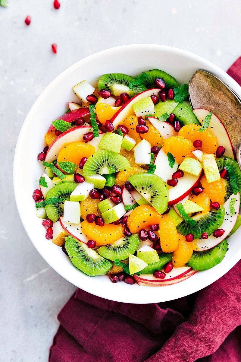 The best winter fruit salad with a simple (and healthy) lemon poppyseed dressing