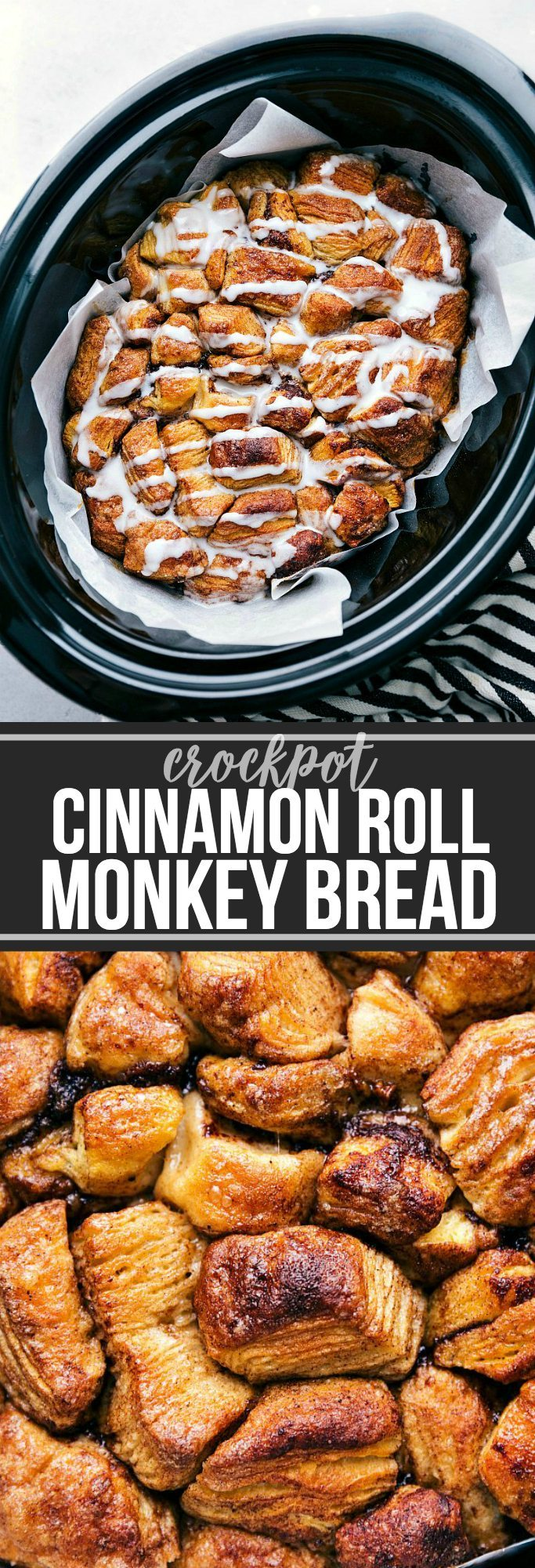 The ultimate BEST EVER Crockpot Monkey Bread! SO many flavors and not overly sweet!! Plus it's made super simple in the crockpot! via chelseasmessyapron.com | #crockpot #slowcooker #monkeybread #dessert #breakfast #holidays #easy #quick #cinnamon #roll