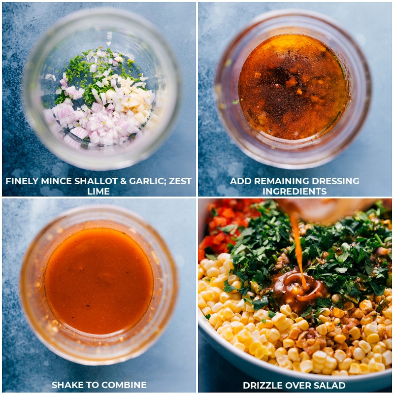 Process shots of the dressing being made in a mason jar and mixed together than poured over dish