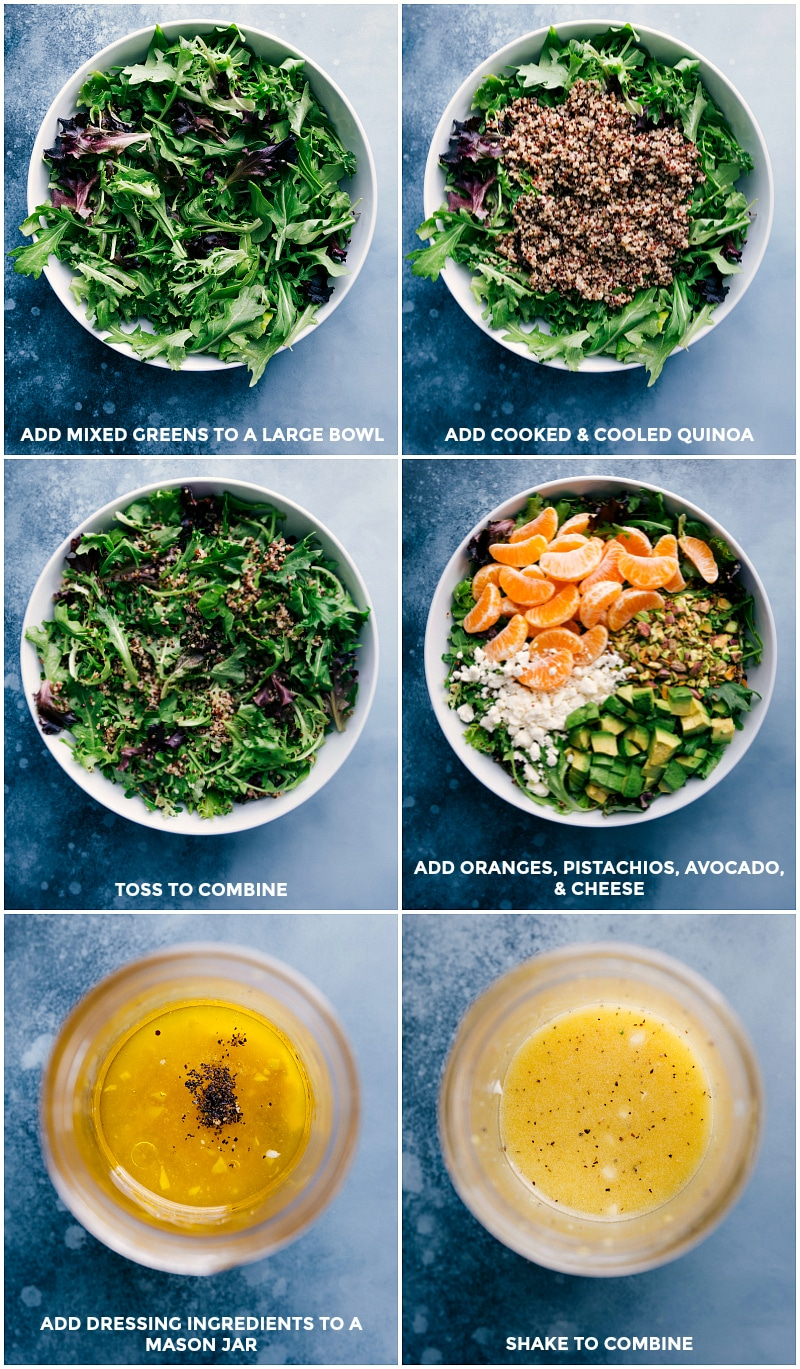 Process shots-- images of the mixed greens, quinoa, oranges, pistachios, avocado, and cheese being mixed together and dressing being made.
