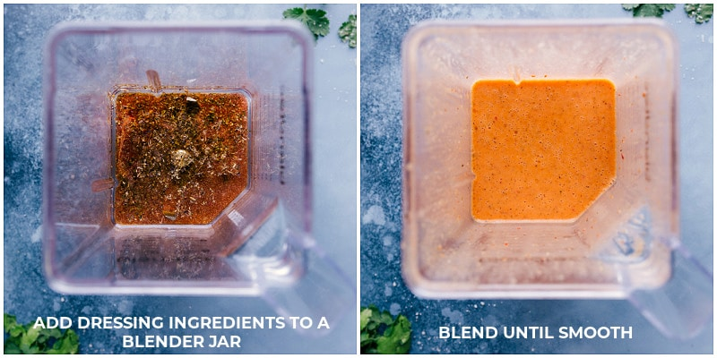 Views of the chipotle-lime dressing before and after being combined in a blender.
