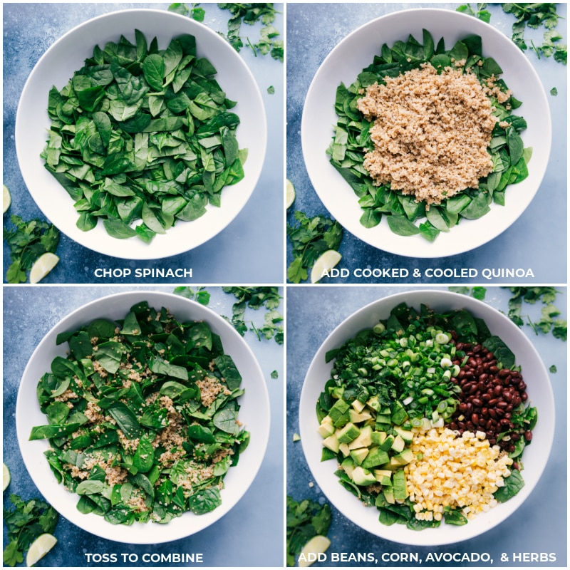 Process shots: chop spinach; add cooked and cooled quinoa; toss to combine; add beans, corn, avocado and herbs.