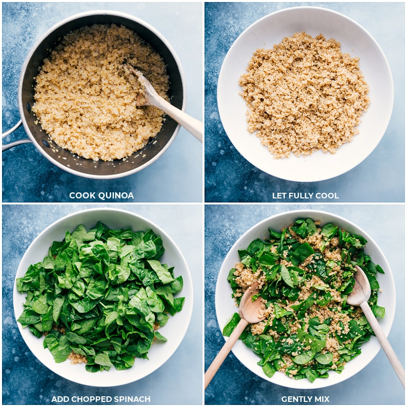 Process shots of this quinoa recipe-- cooking the quinoa; letting it cool; chopping spinach; adding it to the quinoa