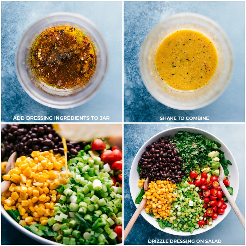 Process shots-- assembling dressing ingredients; shaking to combine; drizzle over salad; serve