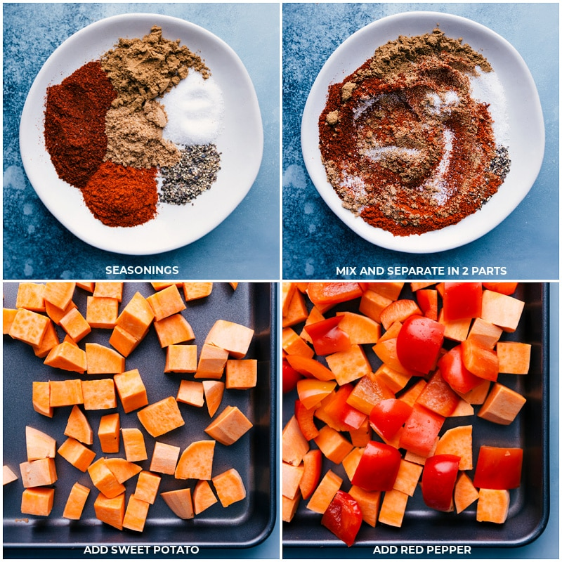 Process shots-- images of the seasoning mix being prepped; the sweet potatoes and red peppers being added to a tray