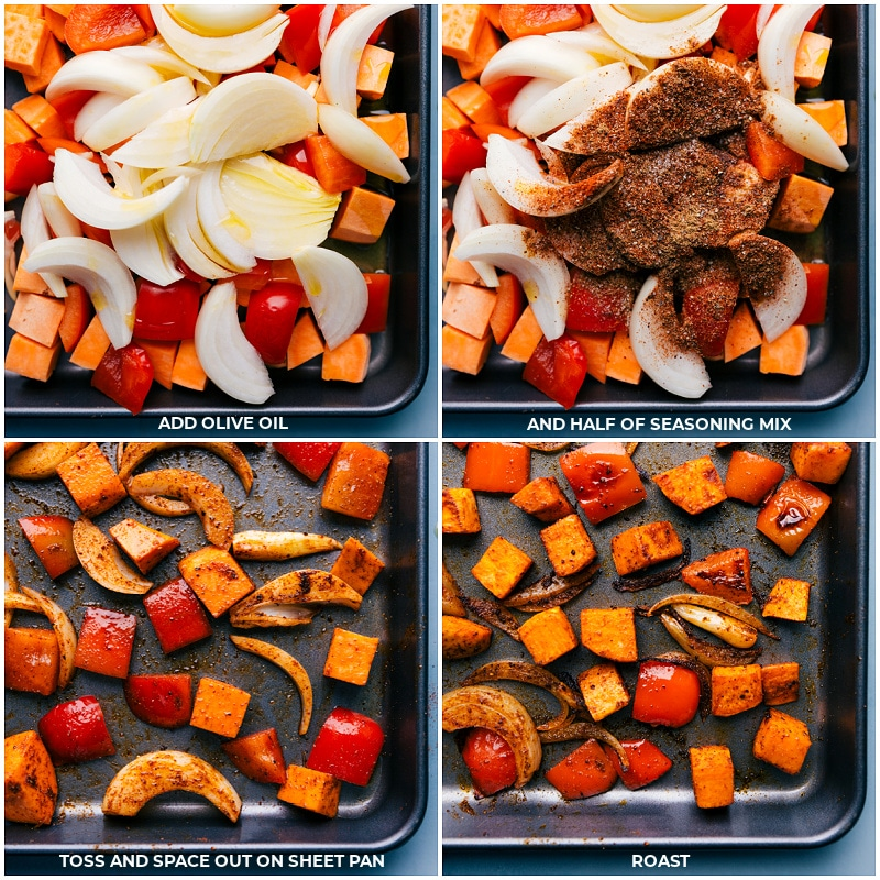 Process shots--adding the onions, peppers and seasonings; continuing to roast.