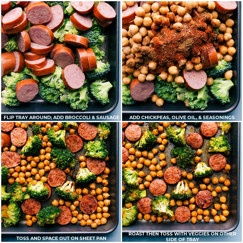 Process shots-- images of the broccoli, sausage, chickpeas, and seasonings being added to the sheet pan for this Sausage and Chickpeas recipe.
