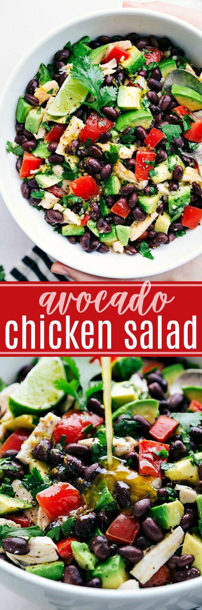 Easy, healthy, and SO delicious Mexican flavor inspired Avocado Chicken Salad! via chelseasmessyapron.com #healthy #salad #chicken #quick #easy #kidfriendly #avocado #tomato #cilantro #lime #cleaneating #keto #health #salad