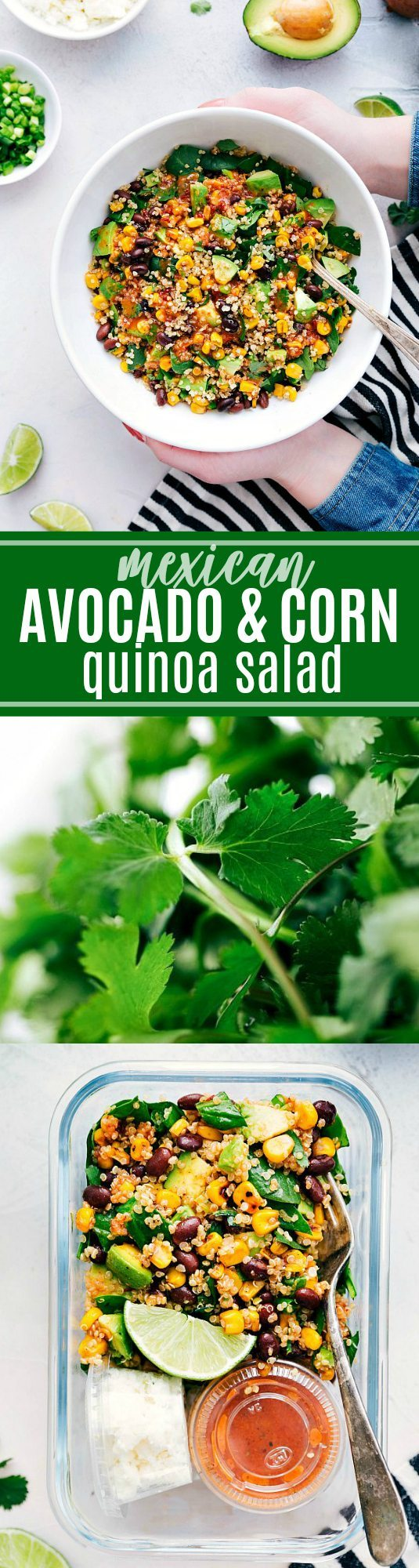 A healthy Mexican-flavor inspired avocado and corn quinoa salad packed with veggies and coated in the most delicious chipotle vinaigrette | chelseasmessyapron.com | #quinoa #salad #healthy #easy #vegetarian #quick #chipotle #dressing #spinach #health #Mexican #corn #avocado