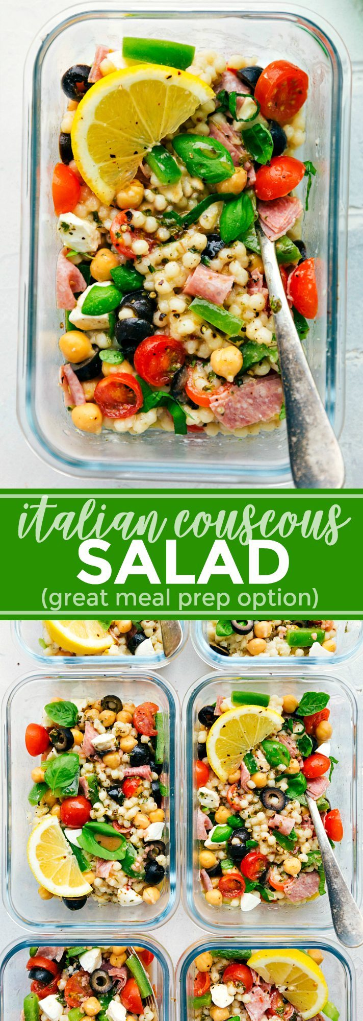 A healthy and simple Italian Couscous Salad that everyone will go crazy for! (Meal prep options and tips included) via chelseasmessyapron.com   #couscous #italian #salad #easy #quick #healthy #mealprep