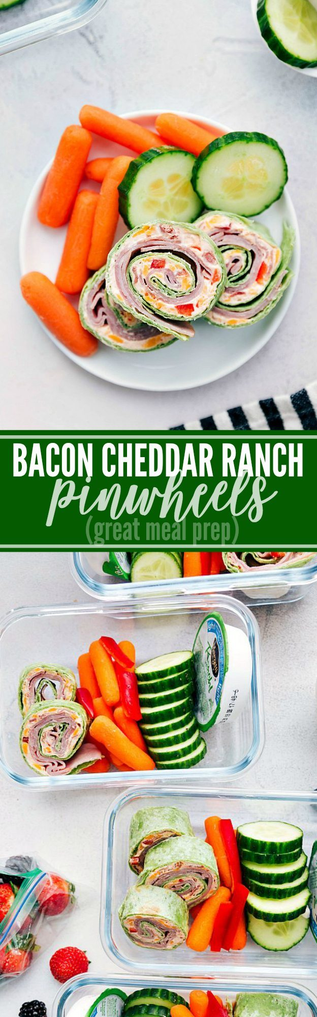 Delicious cheddar, bacon, and ranch pinwheels make a delicious and easy meal prep! via chelseasmessyapron.com