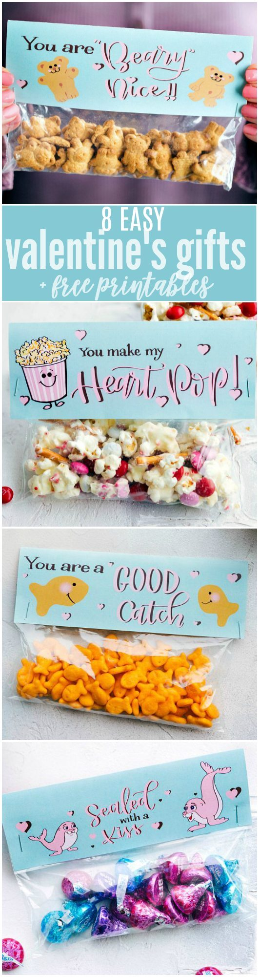 The CUTEST Valentine's Day Gifts -- so easy to make and FREE PRINTABLE bag toppers! via chelseasmessyapron.com   #valentines #bagtopper #easy #quick #free #printable #bag #topper #treat #dessert #smore #beary #nice #treat #candy #snack