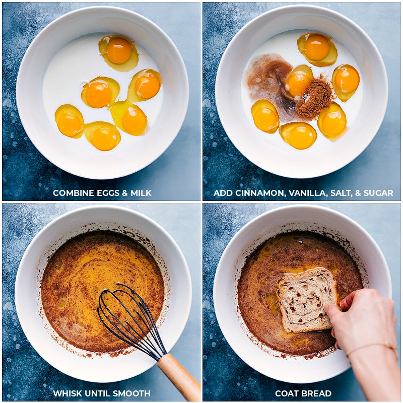 Process shots-- Creating the egg mixture and dipping bread in it