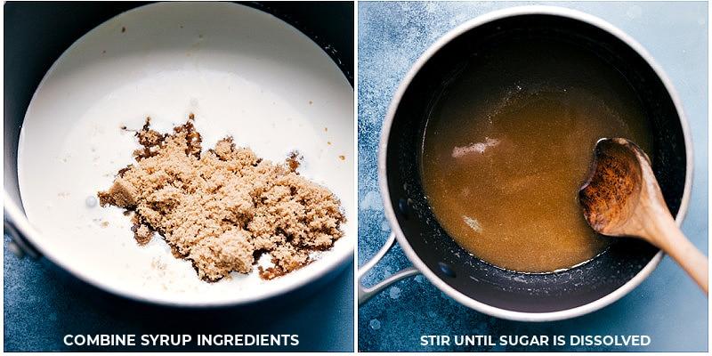 Process shots-- making the caramel syrup