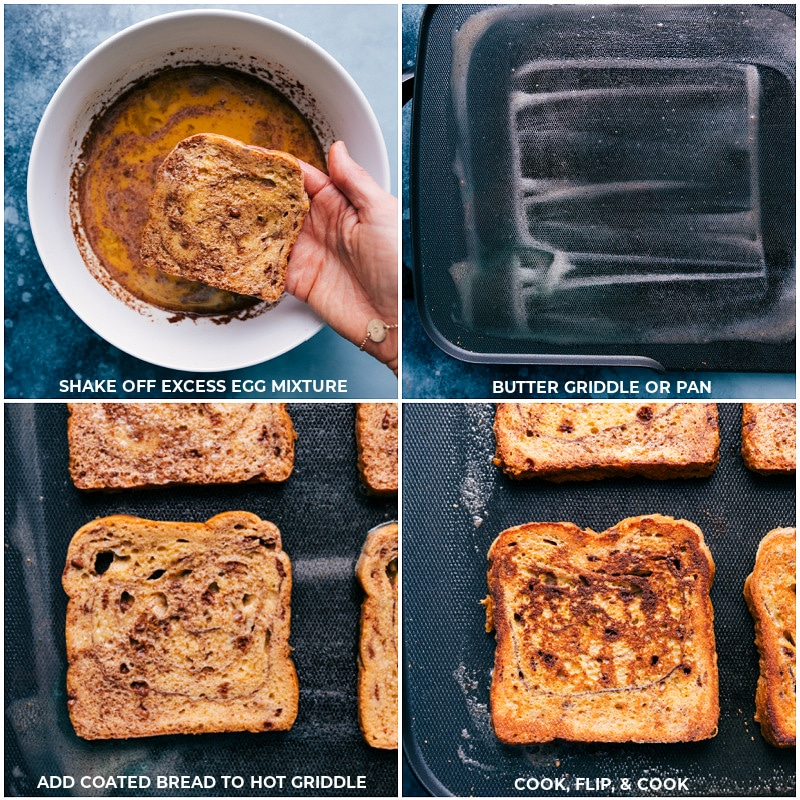 Process shots--cooking the French Toast