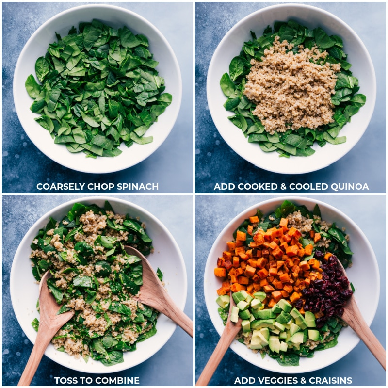 Process shots-- images of the spinach, quinoa, veggies, and dried cranberries being added to the bowl.