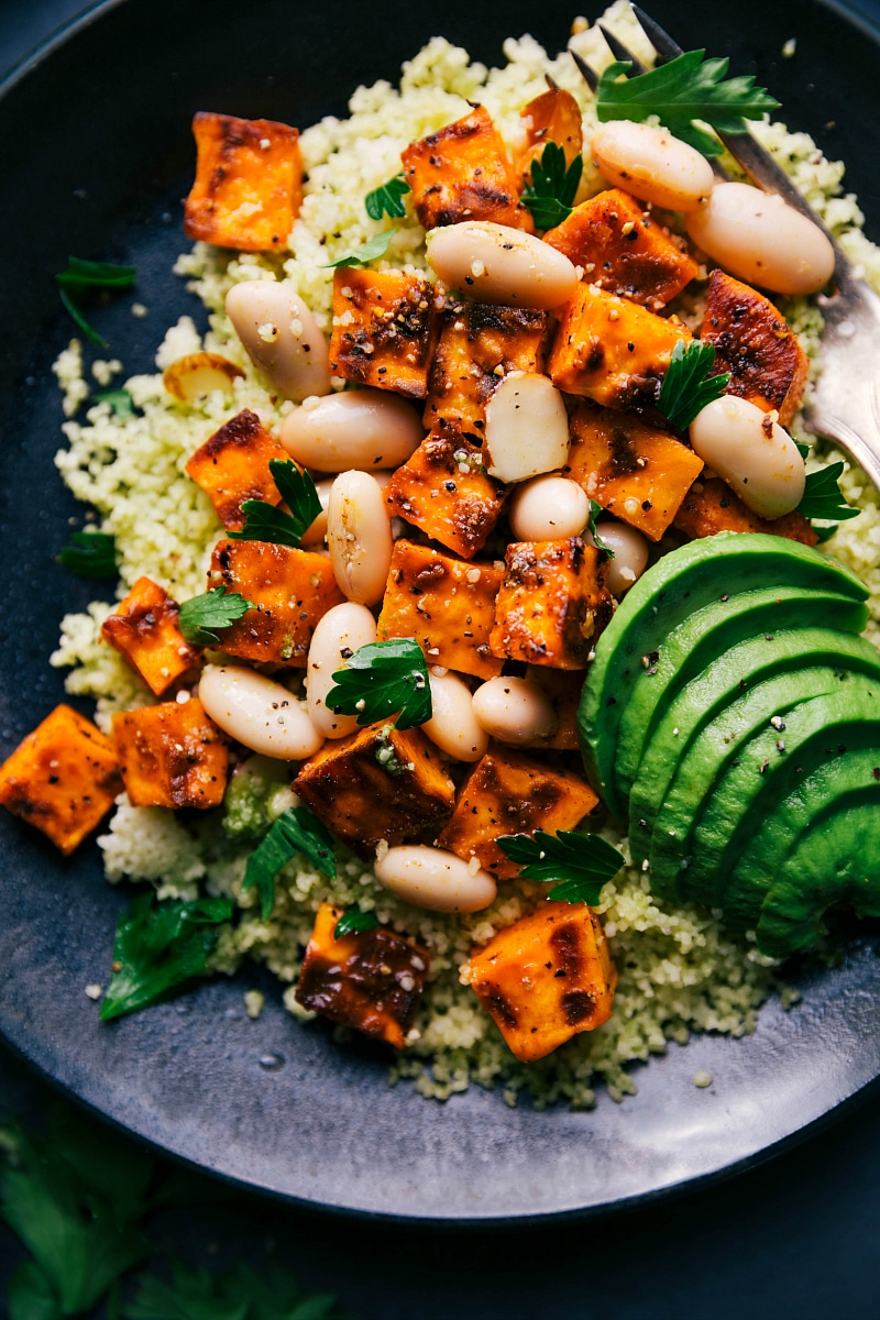 Up-close image of Sweet Potato Couscous, ready to be eaten.