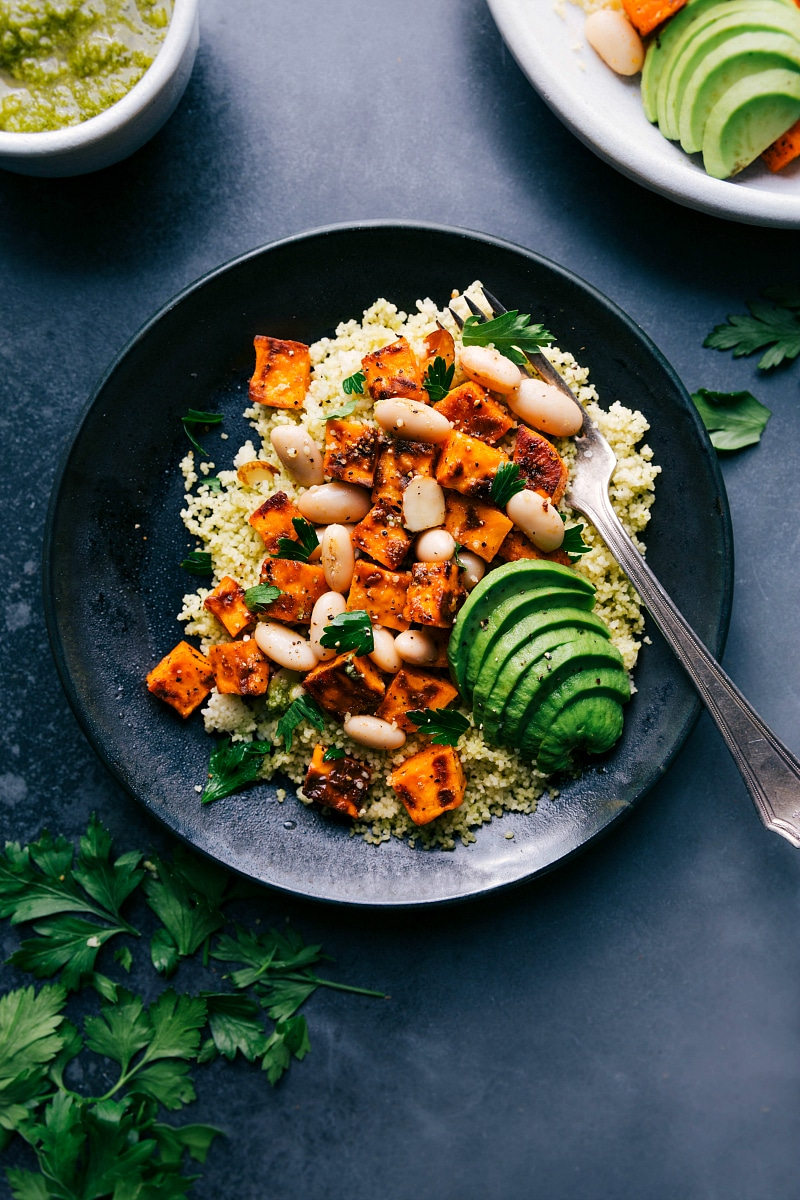 Overhead image of Sweet Potato Couscous on a plate, ready to be eaten.