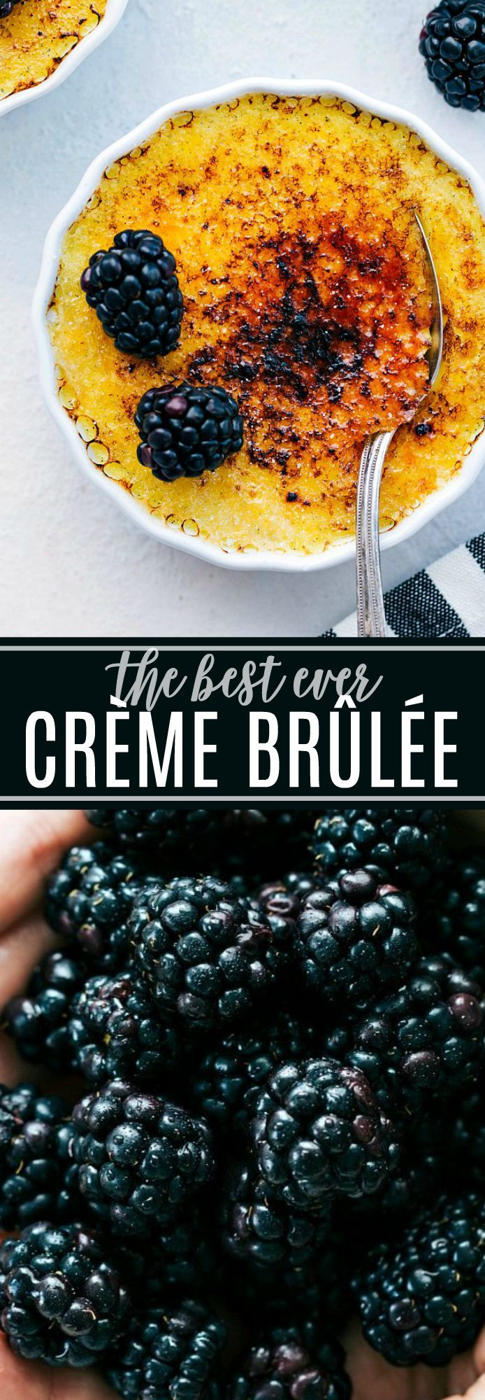 The ultimate BEST EVER easy creme brulee! So easy to make at home and makes for a gorgeous fancy dessert! Plus NO special kitchen torch required (oven instructions). Video tutorial included. via chelseasmessyapron.com #cremebrulee #creme #brulee #dessert #easy #video #tutorial #custard #dessert #helpful #tips #valentines #day #treat #desserts