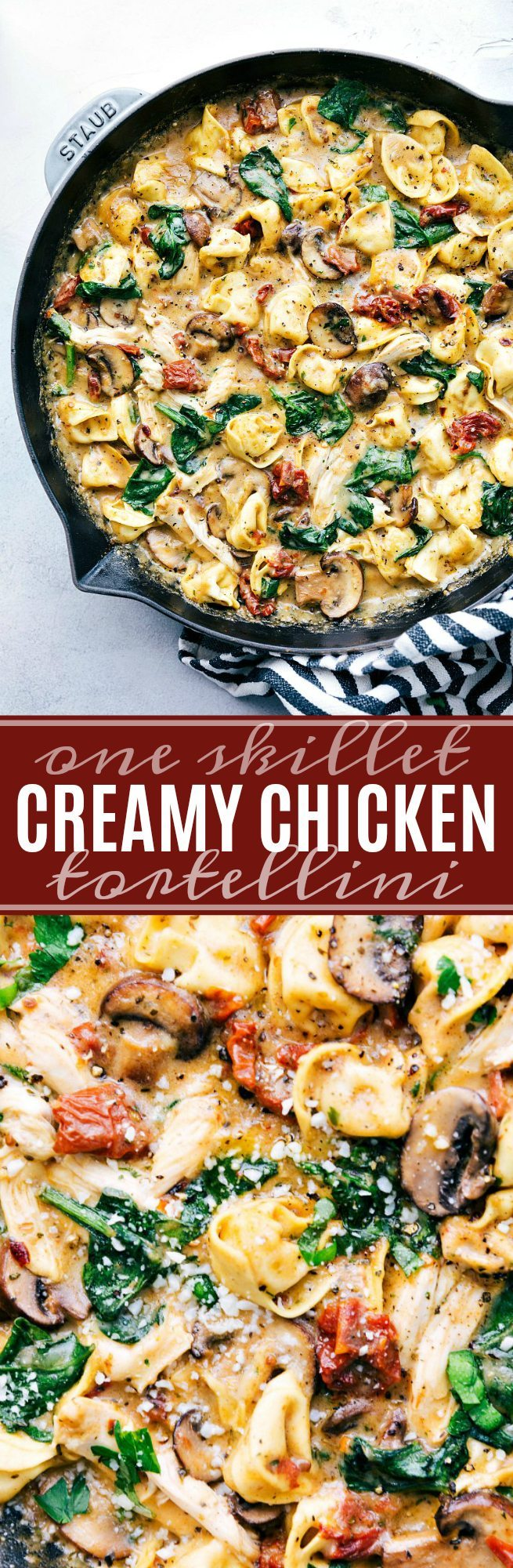 ONE SKILLET creamy chicken, sundried tomatoes, and tortellini. Healthier ingredients and all the flavor! via chelseasmessyapron.com #skillet #chicken #oneskillet #easy #quick #dinner #tomato #sundried #tortellini #30minute #dinner #recipe #kidfriendly