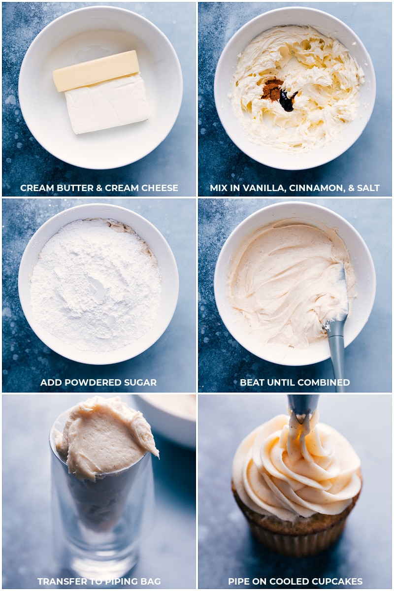 Process shots of making the cream cheese frosting