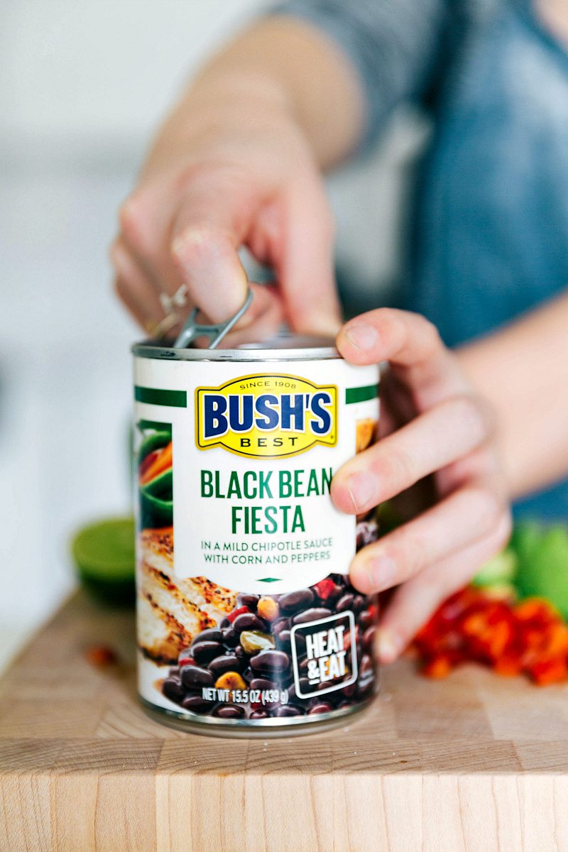 Black beans that go into the cowboy caviar