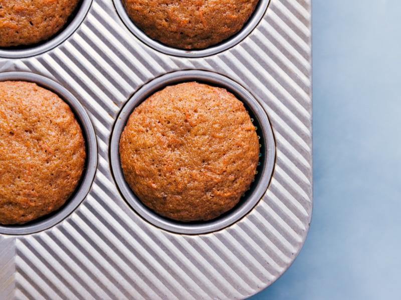 Carrot Cake Cupcakes in the pan