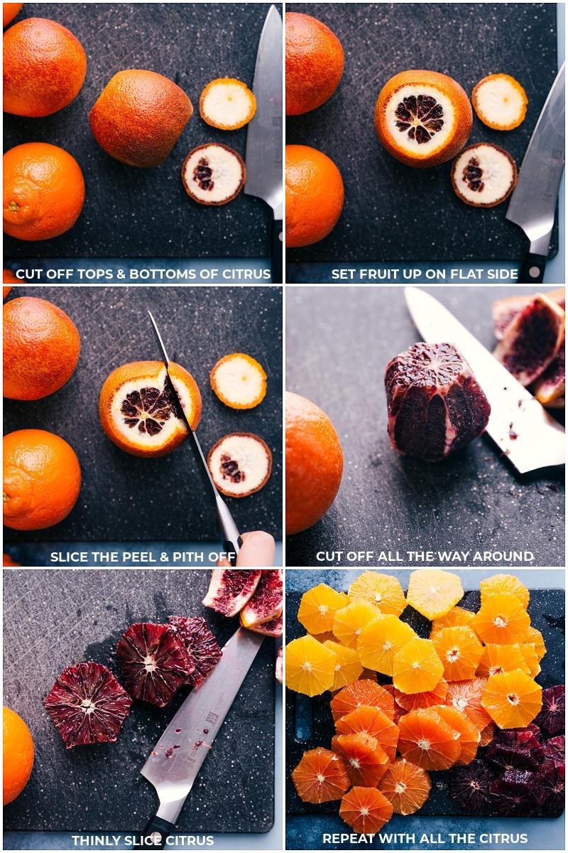 Process shots: supreming the oranges