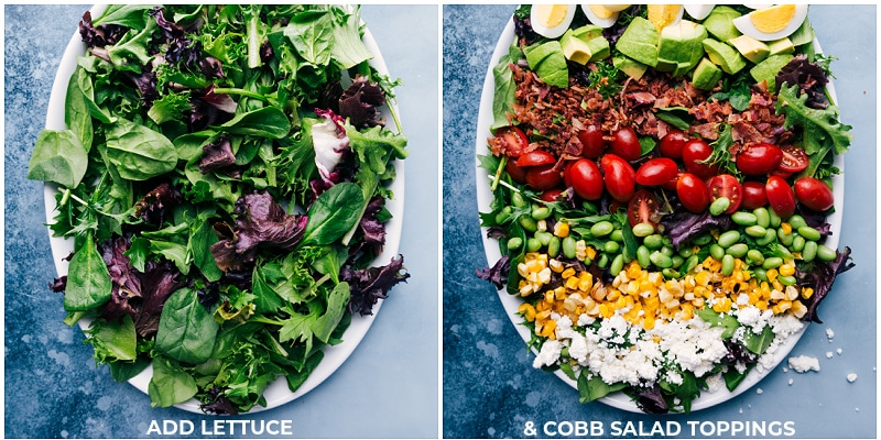 Cobb Salad toppings arranged on a bed of lettuces