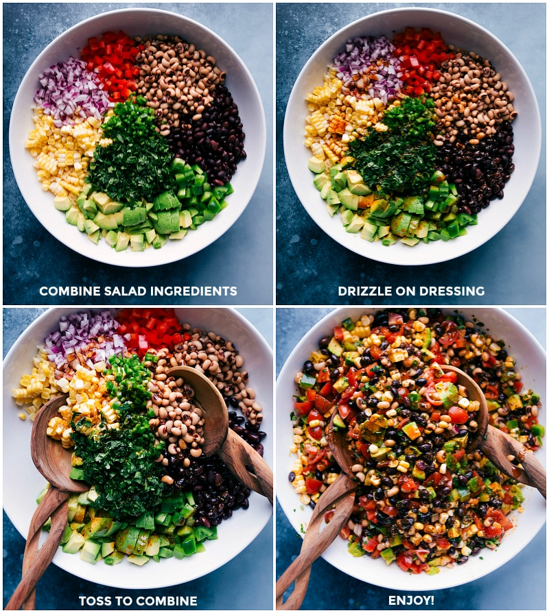 Process shots: combine salad ingredients; drizzle on dressing; toss to combine; serve.