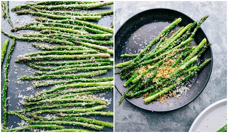 overhead shots of asparagus spears.