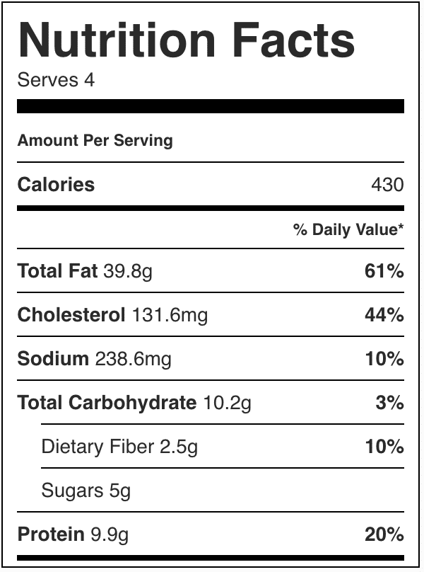 Nutrition Label for healthy cobb salad. Calories in cobb salad
