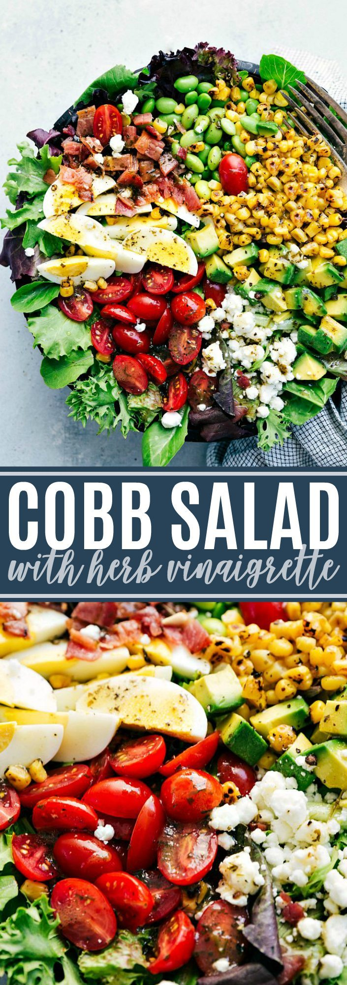 The ultimate BEST EVER easy COBB SALAD with a delicious tangy herb vinaigrette. via chelseasmessyapron.com #cobb #salad #healthy #easy #chickfila #zupas #egg #avocado #tomato #goatcheese #delicious #cobbsalad #chef #salad