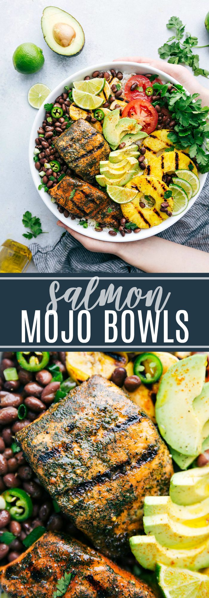 Delicious, healthy, and EASY Salmon Mojo Bowls with tons of fresh ingredients! via chelseasmessyapron.com #salmon #bowl #mojo #cuban #bowls #dinner #healthy #easy #quick #kidfriendly #plantain #tomato #pineapple #avocado #lime
