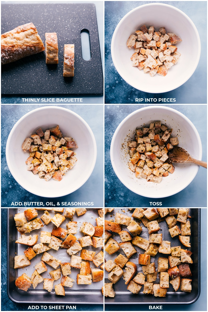 Process shots: making sourdough croutons for Panzanella Salad