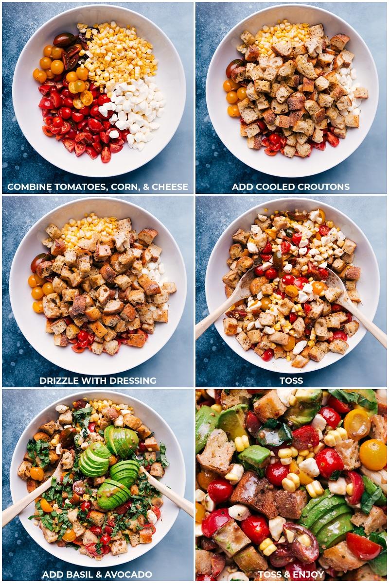 Process shots: assembling Panzanella salad