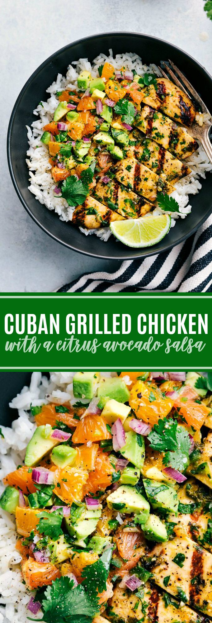 The ultimate BEST EVER grilled mojo chicken with a delicious avocado citrus salsa via chelseasmessyapron.com #avocado #citrus #salsa #easy #quick #dinner #rice #cilantro #lime #fresh #healthy #kidfriendly #cuban #mojo #chicken #dinner