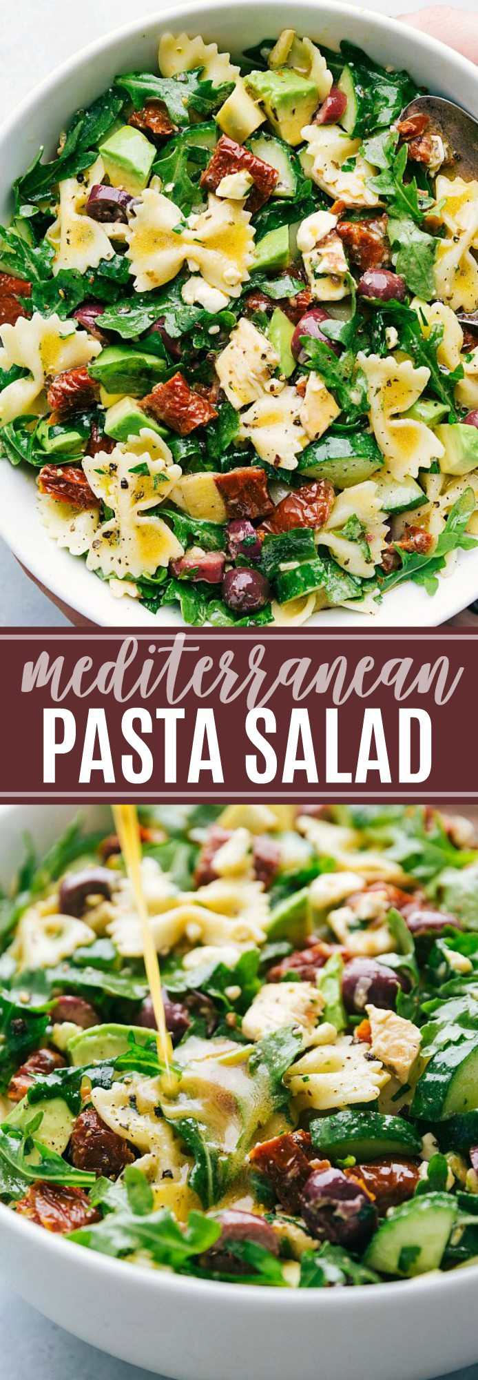A delicious and healthy mediterranean pasta salad with arugula, veggie, and chicken salad with the best lemon vinaigrette! (Vegetarian option) via chelseasmessyapron.com #mediterranean #pasta #salad #easy #healthy #quick #potluck #party #healthy #avocado #tomato #olive #arugula #kidfriendly #feta