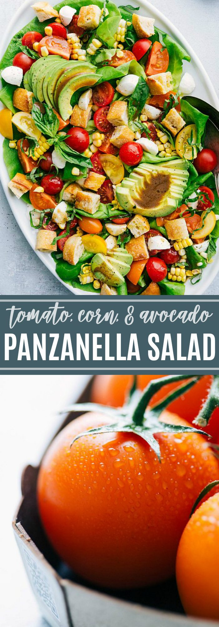 The best simple panzanella salad with lots of fresh veggies and a delicious balsamic dressing chelseasmessyapron.com #salad #panzanella #tomato #corn #basil #avocado #bread #sourdough #balsamic #dressing #healthy #easy #kidfriendly #quick #dinner