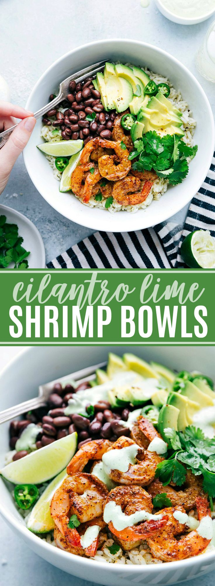 Delicious and simple cilantro lime shrimp bowls with the BEST sauce! via chelseasmessyapron.com #easy #30minute #meal #kidfriendly #cilantro #lime #shrimp #seafood #avocado #southwest #fast #quick #dinner #healthy #rice