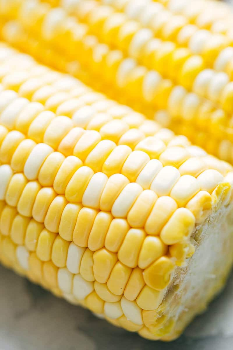 Close up shot of corn on the cob for the cucumber salad