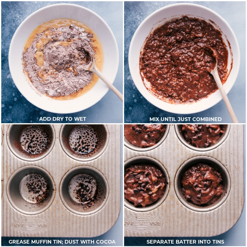 Process shots-- images of the wet and dry ingredients being mixed together and then aded into muffin tins