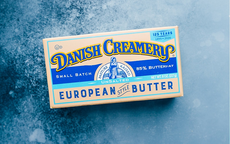 Overhead image of the danish creamery butter used in this dessert