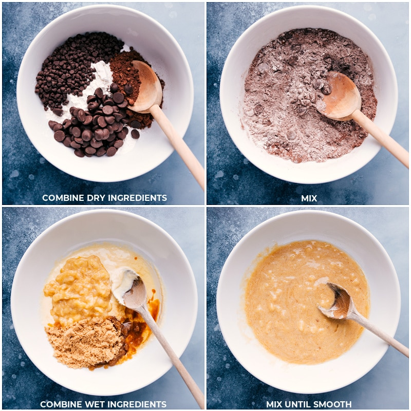 Process shots-- images of the dry and wet ingredients being prepped