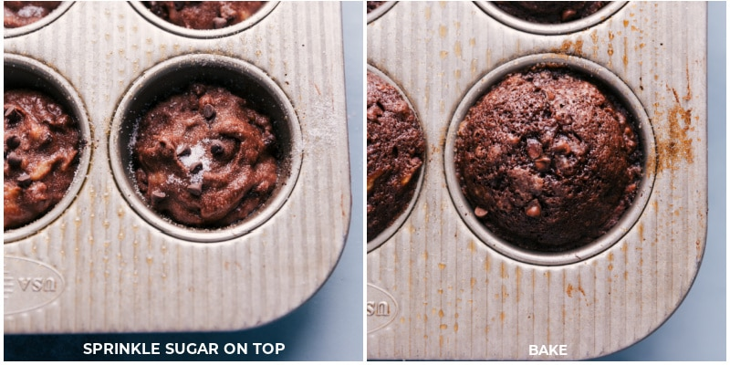 Process shots-- images of the chocolate banana muffins being baked